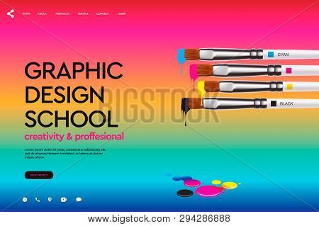 Web Page Design Template For Design School, Studio, Course, Class, Education. Modern Design Vector I