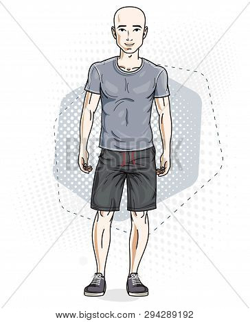 Handsome Hairless Young Man Poses On Modern Background. Vector Illustration Of Male. Lifestyle Theme