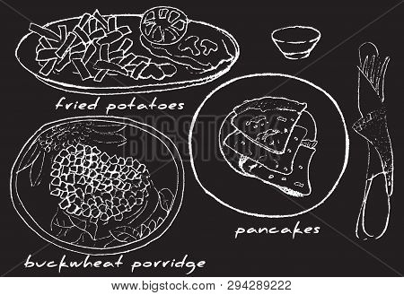 French Fries, Buckwheat Porridge, Pancakes With Sauce On A Black Background