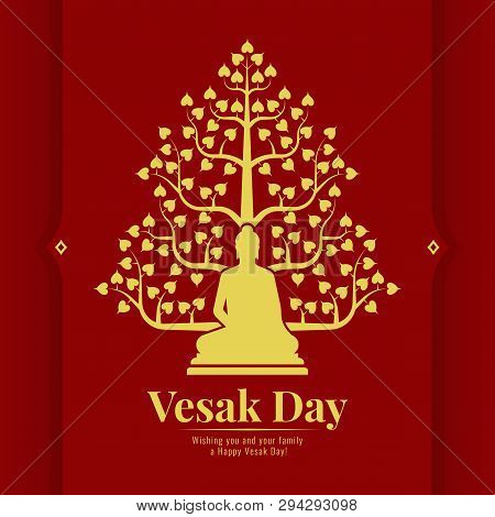 Vesak Day Banner Card With Yellow Gold  Buddha And Bodhi Tree Sign On Red Background Vector Design