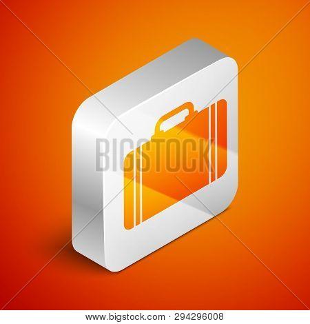 Isometric Suitcase For Travel Icon Isolated On Orange Background. Traveling Baggage Sign. Travel Lug