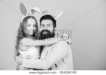 Love You All. Happy Family. Family Celebrating Easter. Happy Father And Child Hugging On Easter. Fam