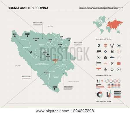 Vector Map Of Bosnia And Herzegovina.  High Detailed Country Map With Division, Cities And Capital S