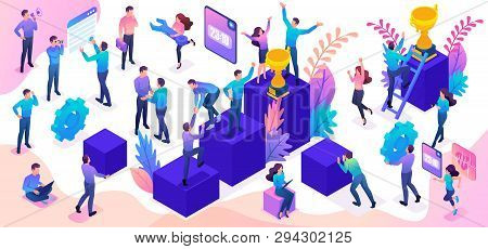 Isometric Set Of Young People And Details To Create A Bright Vector Illustration On The Theme Of Suc