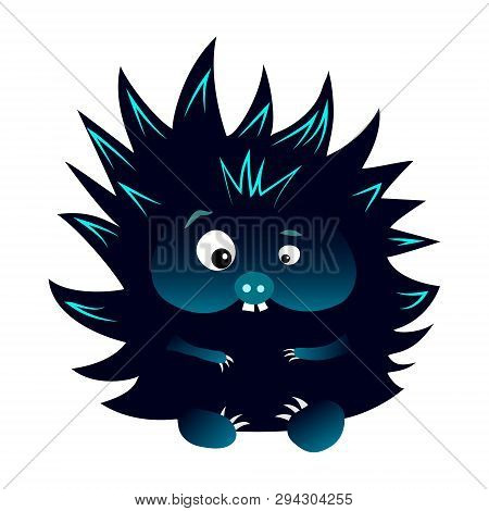 Neon Blue And Black Spiky Cartoon Caracter Hedgehog With Snout