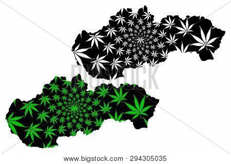 Slovakia - Map Is Designed Cannabis Leaf Green And Black, Slovak Republic Map Made Of Marijuana (mar