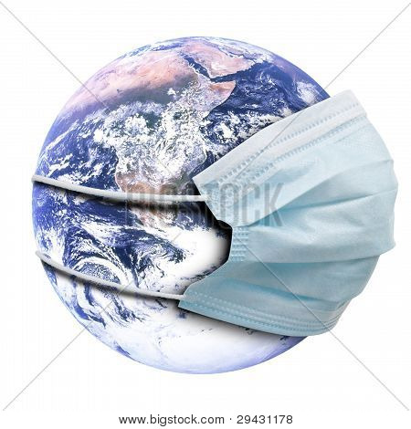 Abstract Allegory Concept With Earth And Flu Mask