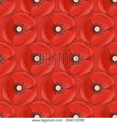 Memorial Day Seamless Pattern With Paper Cut Out Red Poppy Flowers. Poppies Background Symbol Of Pea