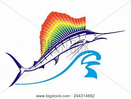 Big Marlin's Jump. From The Water Jumps Marlin Or Swordfish With Rainbow Dorsal Fin. Fin In Rainbow