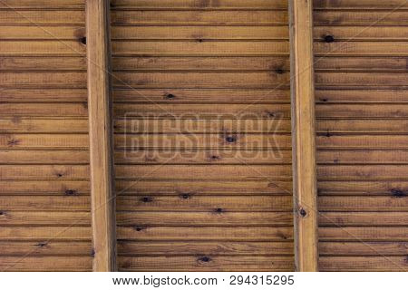 Background Wooden Boards And Beams Roof - Wood Boarding Roof With Cross Beams