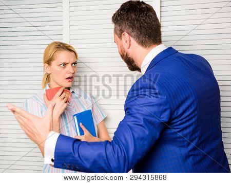 Discrimination Concept. Prejudice And Personal Attitude To Employee. Tense Conversation Or Quarrel B