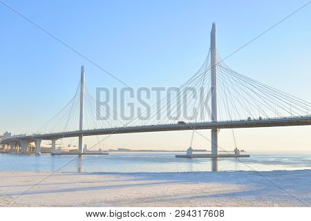 Cable bridge across the Petrovsky fairway at evening in Saint Petersburg, Russia. Part of the Western high-speed diameter. poster