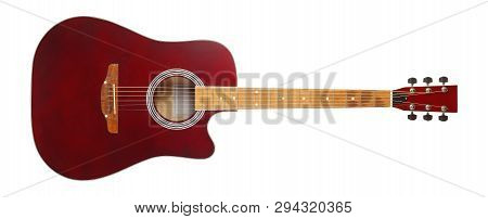 Musical Instrument - Front View Brown Cutaway Electric Acoustic Guitar On A White Background. Isolat