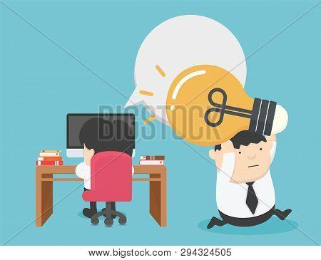 Content Work Infringement. Business Theft Of Ideas. Light Bulb