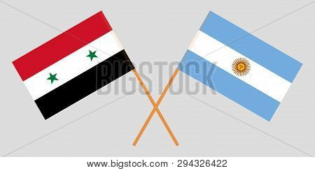Argentina And Syria. The Argentinean And Syrian Flags. Official Colors. Correct Proportion. Vector I