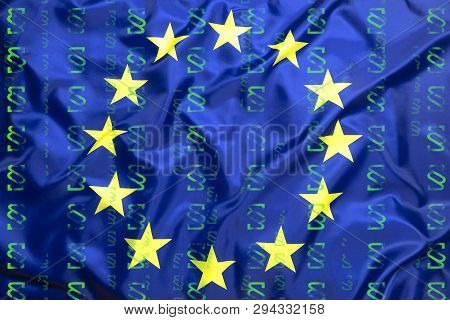 Flag Of European Union With Paragraph Symbols As Binery Code