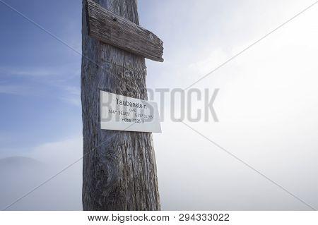Sign Of Summit Cross At Taubenstein Mountain, Bavaria, Germany