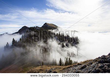 Mountain Panorama Of Taubenstein Mountain, Bavaria, Germany