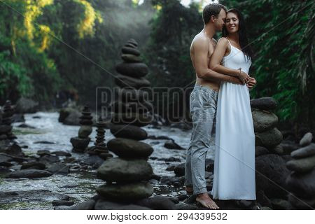 Sexy Couple Traveling At Bali, Ubud Near Big Waterfall