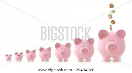 Pink piggy banks increasing in size, with coins falling into largest one.  Growing investment concept.