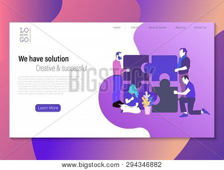 We Have Solution Illustration Concept, Group Of People Have Solution, Can Use For Landing Page, Temp
