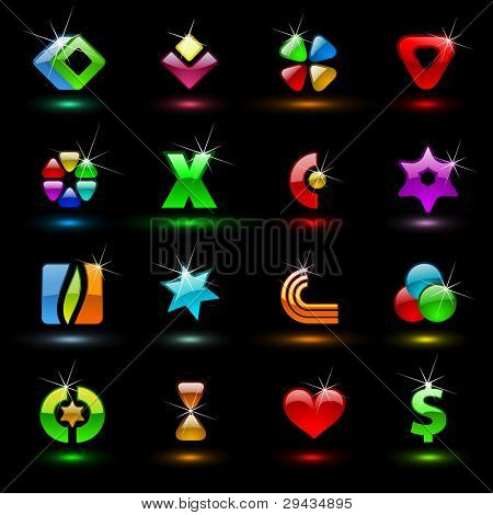 Set 1 of editable vector colorful signs (variant on black)