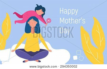 Mothers Day Cute Illustration. Mother And Son. Mother Is Meditating In A Lotus Pose With A Cute Naug