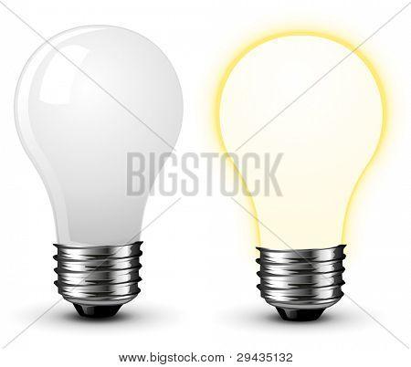 Bulbs on White, vector illustration
