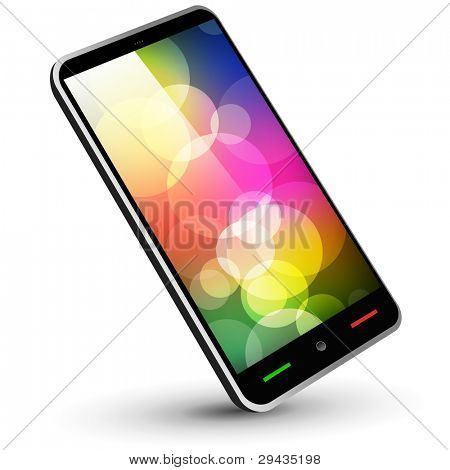 Fictitious touch smartphone 3 (black, with wallpaper) - Original design. Vector Illustration.