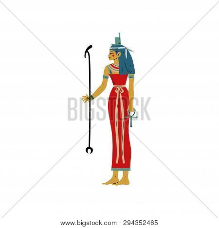 Seshat, Goddess Of Art, Literature, Destiny And Counting, Symbol Of Ancient Egyptian Culture Vector