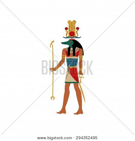 Seb, God Of Water And Flood Of Nile With Head Of Crocodile, Symbol Of Ancient Egyptian Culture Vecto