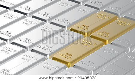 Gold and platinum ingots. Computer generated 3D photo rendering.