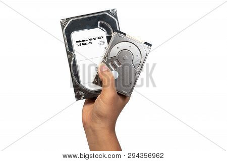 Hard Disk Internal Sata And Ata 3.5 And 2.5 Inches Holding On Technician Man Isolated On White Backg