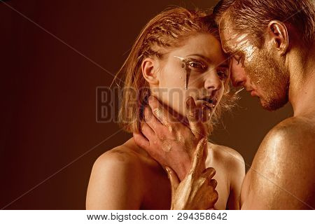 Intimate and sensual moments of a couple. intimate moment of sexy couple, copy space poster