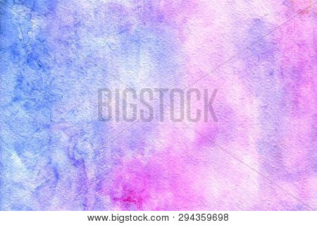 Watercolor Abstract Background. Grunge Light Pink, Purple And Sky Blue Watercolor Background. Smooth