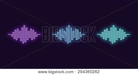 Neon Icon Set Of Digital Sound Wave. Vector Abstract Illustration Of Neon Music Wave Shape. Wavy Mot