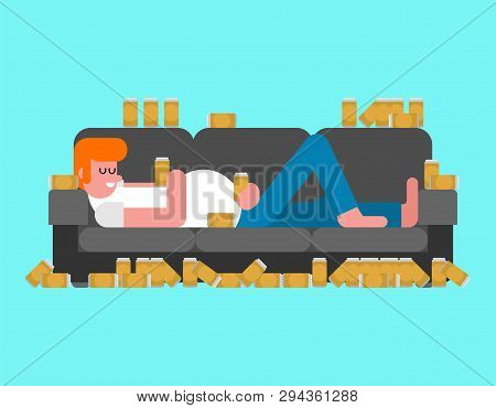 Lazy Man Lying On Couch Drinking Beer. Indolent Person Guy Is Lying On Sofa