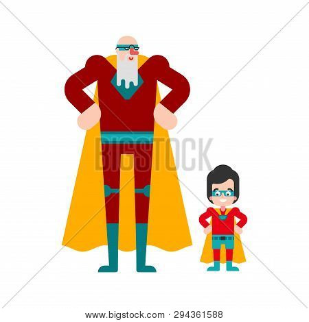 Superhero Grandfather And Grandson. Super Granddad In Cloak And Mask. Superpowers Old Man. Cartoon S