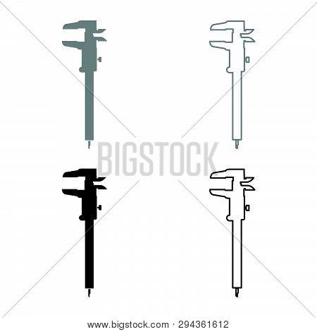 Caliper Hand Caliper Sliding Caliper Vernier Caliper Caliper Gage Slide Gage Trammel Icon Set Black