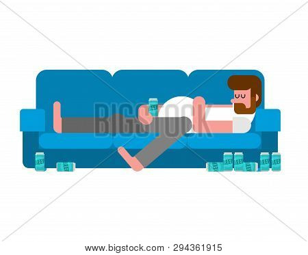 Hangover Man Lying On Couch Drinking Beer. Indolent Person Guy Is Lying On Sofa