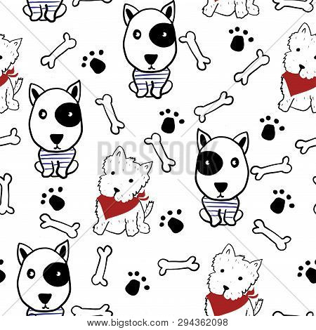 Seamless Pattern With Hand Drawn Dogs. Scandinavian Background. Vector Illustration.