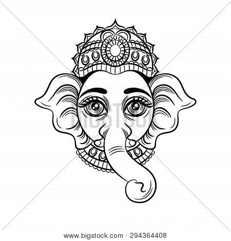 Vector Black White Illustration Of An Indian God With An Elephant Head. Indian Deity Ganesh. Sketch