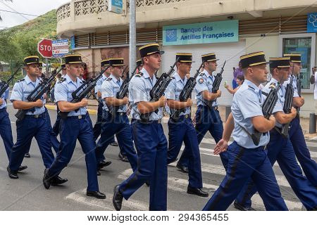 Marigot, Saint-martin, France - July 14, 2013: French Police Officers Taking Part In The Parade On T
