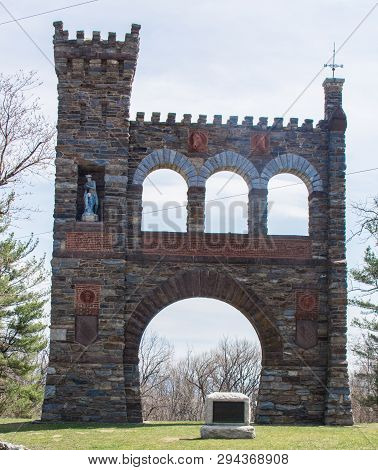 The War Correspondents Memorial, a brick and stone arch located in Jefferson Maryland, in Gathland State Park, was built with private donations, and memorializes war correspondents from the United States Civil War poster