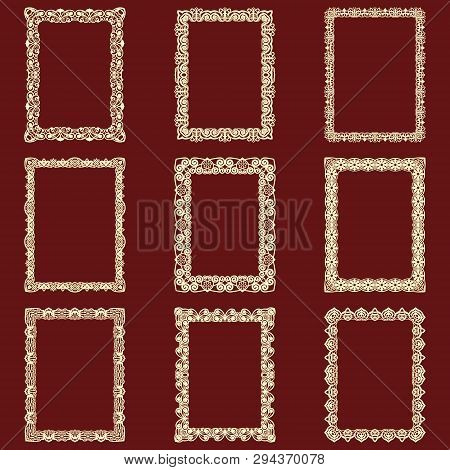 Set Of Rectangular Vintage Frames Isolated Background. Vector Design Elements That Can Be Cut With A