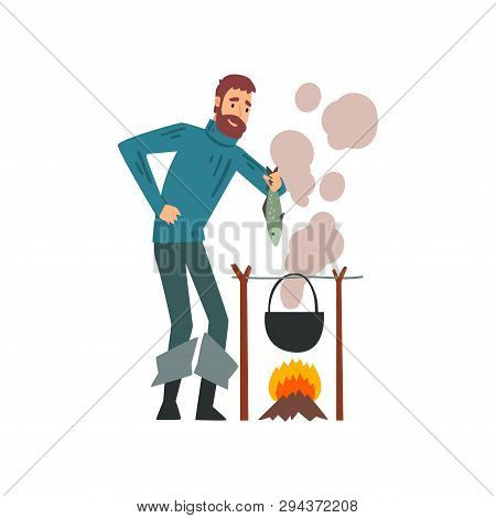 Fisherman Cooking Fish Soup In Cauldron Over Bonfire, Bearded Fishman Character Vector Illustration