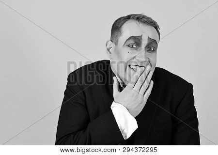 Laughing Face. Comedian Performer Giggling. Mime Artist. Mime With Face Paint. Man With Mime Makeup.