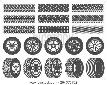 Wheel Tires. Car Tire Tread Tracks, Motorcycle Racing Wheels Icons And Dirty Tires Track Vector Illu