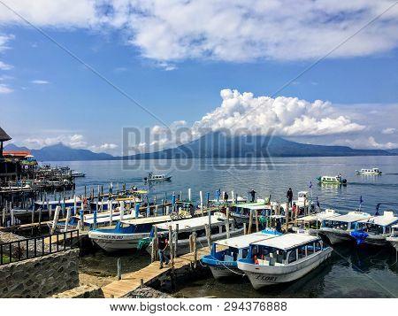Lake Atitlan, Guatemala - May 20th, 2018: A Group Of Tour Boats Docked Along The Shores Of Panajache