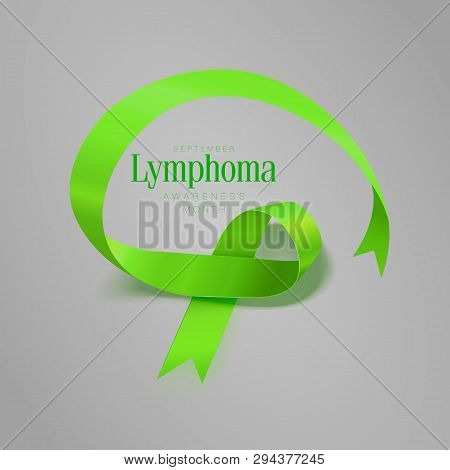 Lymphoma Awareness Calligraphy Poster Design. Realistic Lime Green Ribbon. September is Cancer Awareness Month. Vector poster